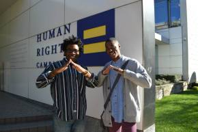 Pictured (left to right) are Bummah Ndeh and Timothy Tukes, attendees of the 2013 HRC HBCU Leadership and Career Summit, and classmates at Morehouse College, the alma mater of Voices on Point Scholar Gregory Davis.  They are symbolizing the 'House', a familiar hand gesture of Morehouse students and alumni.