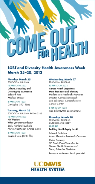 Lecture series for LGBT Health Awareness Week.